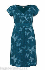NEW WHITE STUFF BLUE TEAL CREAM LILY BUTTERFLY SUMMER TUNIC DRESS SIZE 8-18