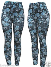 NEW Ladies Floral Printed Leggings Good Quality Stretchy Women Size 10 12 14 16