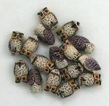 "Hand Painted Ceramic Beads, 1/2"" Purple Owl Design, New"