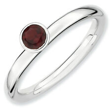 Garnet Ring .925 Sterling Silver 4mm High Profile Sz 5-10 Stackable Expressions