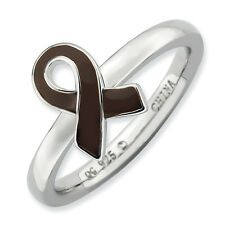 Awareness Ribbon Ring Brown Enamel Sterling Silver Sz 5-10 Stackable Expressions