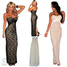 Sexy Strapless Lace Slit Bodycon Maxi Wedding Formal Evening Party Long Dress