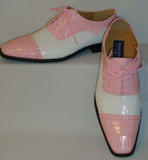 Mens Pink & White Oxfords 2-Tone Gator Look Dress Shoes Roberto Chillini 6545