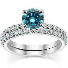 0.5 Carat Blue Diamond Engagement Bridal Solitaire Ring Band 14K White Gold