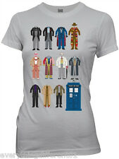 New Dr Who All 11 Doctor Outfits Womans T Shirt Science Fiction TV Movie