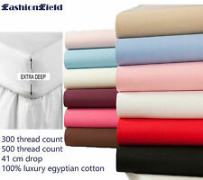 Luxury 100% Egyptian Cotton Fitted Sheets 500 Thread Cont Extra Deep all uk size