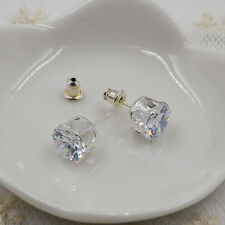 Fashion 925 Sterling Silver Basket Set Flower cut CZ Stud Earrings ED-186