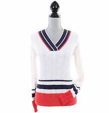 Tommy Hilfiger Women Long Sleeve Pullover Cable Knit V-Neck Sweater - Free Ship