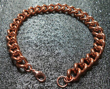 Pure Copper Chain Bracelet - Chunky Style Chain With Copper Lobster Claw Clasp