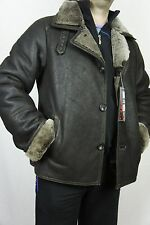 Men GENUINE REAL Sheepskin Shearling Leather Car Coat Bomber Jacket S-5XL, NWT