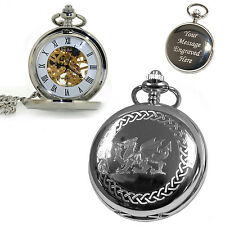 Personalised Welsh Dragon Mechanical Skeleton Pocket Watch Engraved Gift for Him