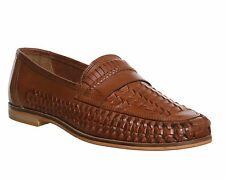 Mens Office Bow Weave Slip On TAN HI SHINE LEATHER Casual Shoes