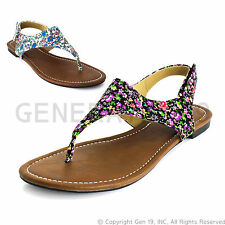 Brand New Womens Floral T-Strap Gladiator Thong Flat Sandals