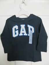 NEW  BOYS GAP LOGO EMBROIDERED NAVY AND WHITE LONG SLEEVE SHIRT SIZE 2 , 4 , 5