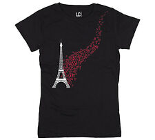 Eiffel Tower Flying Hearts Paris France French Love Euro Fashion Chic Womens Top