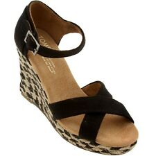 Toms Women Strappy Wedge (black / black mixed rope) 10001340BLK