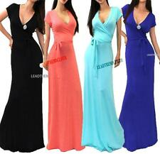 USA MADE SOLID SHORT SLEEVE WRAP WAIST TIE SUMMER PARTY LONG MAXI DRESS S M L