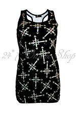 Womens Girls Black Wiccan Cross Goth Emo Punk Printed Long Vest Top Racer Back