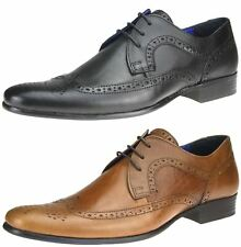 Red Tape Louth Black Tan Real Leather Mens Lace Up Brogues 6 7 8 9 10 11 12