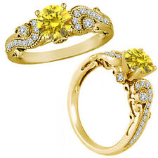 1 Carat Yellow Diamond Engagement Wedding Bridal Fancy Ring 14K Yellow Gold