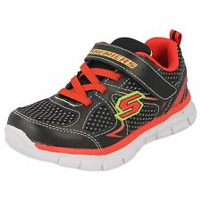 "BOYS SKECHERS FOAMIES BLACK/RED TRAINERS ""MINI DASH""/95090N"