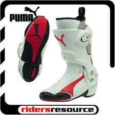 Puma Mens 1000v3 Vented Race Street Motorcycle Boots White Red
