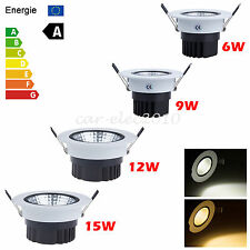 Dimmable 6W 9W 12W 15W COB LED Downlight Kit Fixture Recessed Ceiling Light Bulb