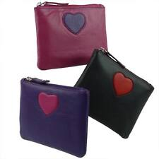 NEW Ladies LEATHER Zip Compact COIN PURSE by MALA; Pinky Collection Handy Heart