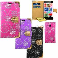 Luxury Bling Diamond Book Wallet Leather Case Cover For Nokia Lumia 635