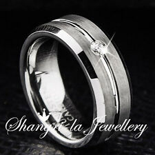 MENS WOMENS SOLID TUNGSTEN CARBIDE WEDDING BAND RING SWAROVSKI DIAMOND JS050 NEW
