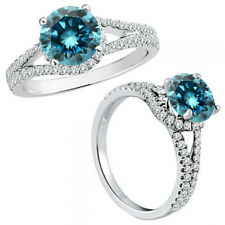 1 Carat Blue Diamond Fancy Solitaire Promise Anniversary Ring 14K White Gold