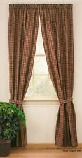 Park Designs Sturbridge Wine Plaid Primitive Country Curtain Panels