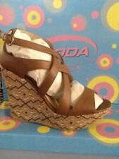 New Soda Ascent H Tan Wedge Summer Spring Heel Nice Elegant Strappy Espadrille