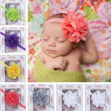 European Baby Cute Ribbon Big Flower Elastic Headband Hair Accessories
