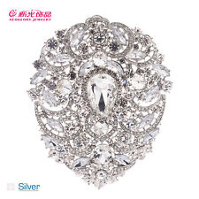 7 Color Brilliant Rhinestone Crystals Teardrop Flower Pendant Brooch Pin 4045