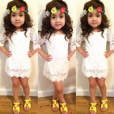 New Baby Girls White Lace Dress Party Formal Princess Children Kids Dress