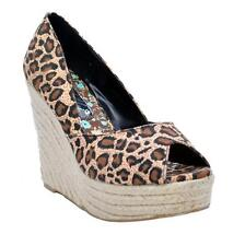 Leopard Print Wedge Heels - Rope Wrapped Open Toe Shoes - Toi et Moi - NEW