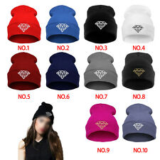 Women Men's DIAMOND Winter Hip-Hop Cap Beanies Cotton Knit Wool Hats Caps
