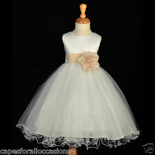 IVORY CHAMPAGNE WEDDING BRIDESMAID FORMAL GOWN FLOWER GIRL DRESS 12M 2 4 6 8 10