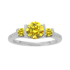 1 Carat Yellow Diamond 3 Three Stone Wedding Anniversary Ring 14K White Gold