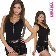 New Sexy Womens Overall Jumpsuit Size 6 8 10 Hot Pants Top One Piece Outfit Zip