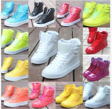 Outdoor Hot Womens Hi Top Lace Up Sport Sneaker Boots Patent Leather Candy Color
