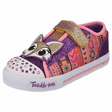 SKECHERS GIRLS TWINKLE TOES LIGHT UP VELCRO FASTENING TRAINERS SHOES 10393N/PRMT