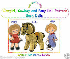 Cowboy, Cowgirl, Pony Sock Dolls pattern of Your Choice  - Vintage