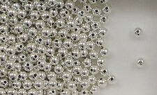 """Sterling Silver Beads,  4mm Seamless Round Design, .042"""" Hole, New"""
