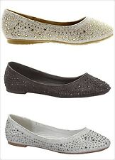 New Youth Girls Rhinestone Glitter Ballet Ballerina Slip on Flats Dress Shoes
