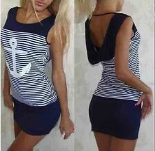 NEW S/M/L/XL Summer Hooded Women Sleeveless Blue White Striped Casual Mini Dress