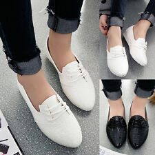 Womens Sexy Snakeskin Pointy Toe Lace Up Oxfords Casual Flats Dress Formal Shoes