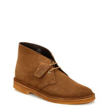 Clarks Mens Ankle Boots Lace Up Dark Brown Casual Cola Suede Desert Shoes