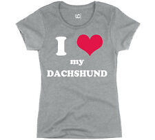 I Heart Love My Daschund, Dog Weiner Dog Breed Puppy Pet Parent Womens T-Shirt